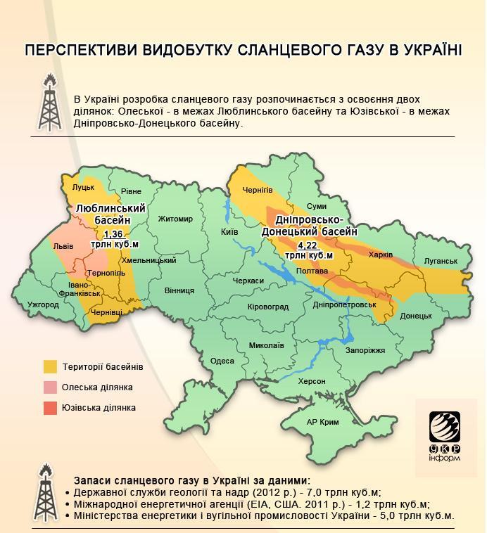 Перспективы добычи сланцевого газа в Украине. Карта залежей сланцевого газа в Украине